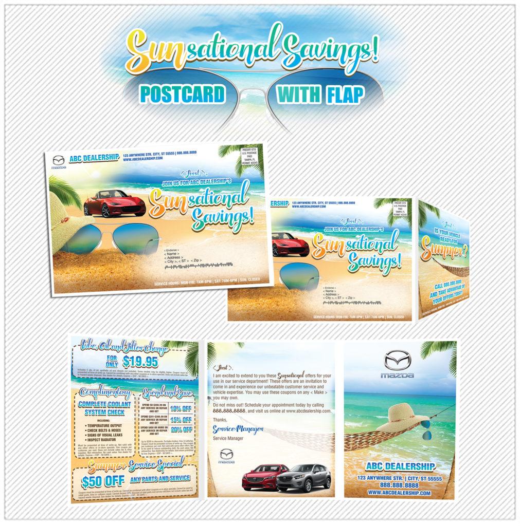 Sun Sational Savings Flap Postcard